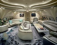 Futuristic Private Jet Interior