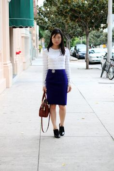 twist on the colored skirt/white top combo