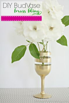 {DIY} Gold Vase . . .grab a glass you are no longer using