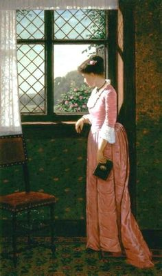 Carr, Samuel S (b,1837)- Woman w Book at Window