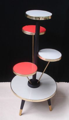 60s Vintage PLANT TABLE TOWER, Display Table, 5 Levels, grey & red, Space Age, Rockabilly Era German Mid Century