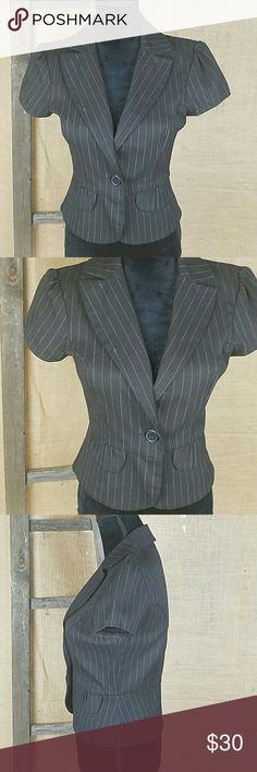 "Anthropologie Lux women's S/Small pinstripe blazer Anthropologie Lux women's S/Small short sleeve pinstripe peplum blazer jacket career.  Under arm to under arm: 19"" Back up down: 21.5"" Anthropologie Jackets & Coats Blazers"
