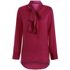 Long Sleeve Pussy Bow Blouse (€19) ❤ liked on Polyvore featuring tops, blouses, purple blouse, long sleeve tops, bow collar blouse, pussy bow blouse and purple long sleeve top