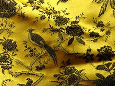 NEW Chinese brocade ONE yard Mustard Gold and Black