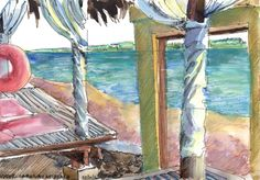 Day 204 - Under cabana at beach Here is the first of my sketches (ink, water-colour and water-colour pencils) done during a short family holiday at La Luz beach resort in Laiya on the coast in Batangas. What a beautiful paradise the coast of the Philippines is - only a few hours drive from crowded and noisy Manila. #Art #Drawing #Sketch #Ink #Watercolour #Watercolourpencils #Beach #Sea #Holiday #WorldWatercolorGroup #Urbansketching