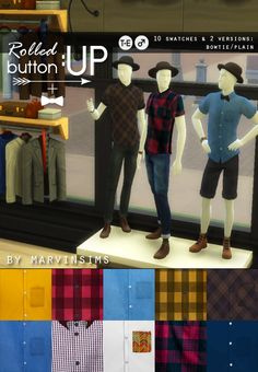 Rolled Up Button Ups at Marvin Sims via Sims 4 Updates