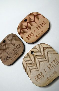 50 1.5 x 1.5 Wedding Tags Custom Wedding Tags Wood by GrainDEEP