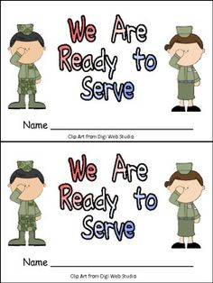 """Finding materials for Veterans Day for young students is always difficult!With that thought in mind, I created this little book for Veterans Day in kindergarten classrooms!!  On each page of this book, there is a member of the armed forces in uniform with an item that he/she uses while working in the military. There is a speech bubble saying, """"I have a ____."""" On the last page, 3 service members say """"We are ready to serve.""""  The book shows men and women from all branches of the armed forces…"""