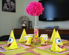 Cute spin on a sponge bob bday party for a girl.