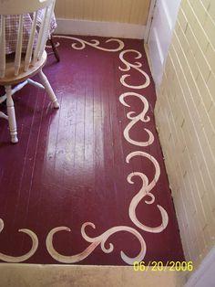 painting hardwood floors   Border on painted wood floor at Anna Renaes
