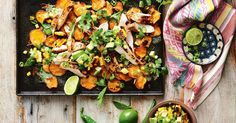We replaced corn chips with sweet potato and added lots of fresh ingredients to make nachos a healthy school-night dinner.