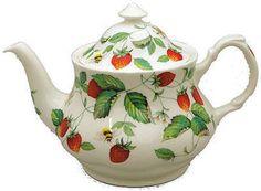 Alpine Strawberry Bone China English Teapot