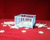 My Renwal Pink and Blue Baby Playpen for Dollhouse in an Etsy Treasury! Vintage Life.