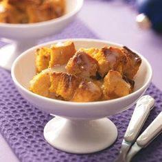 Pumpkin Bread Pudding with White Chocolate Sauce - this was sooo so good. Like fluffy pumpkin pie. Definitley going to make it again!