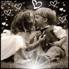 L'amour !! belle création d'enfants en noir et blanc