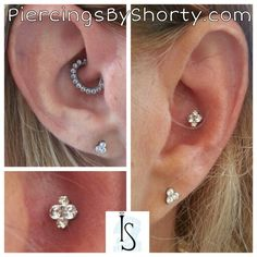 Daith, Conch and Ear Lobe piercings with Industrial Strength jewelry.  Daith clicker.  Conch flatback with Northstar end.  Lobes with Menage A Trois ends. Titanium and Swarovski Zirconia made in the USA
