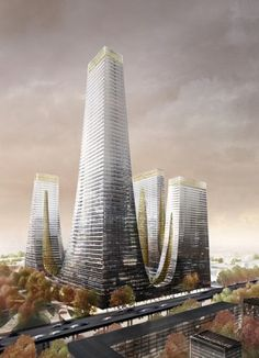 Cradle Towers of Zhengzhou 1 - The Skyscraper Center Futuristic City, Futuristic Architecture, Amazing Architecture, Landscape Architecture, Architecture Design, Future Buildings, Unique Buildings, Amazing Buildings, Earth City
