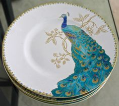 222 FIFTH PEACOCK GARDEN PLATES SALAD SET 4 NEW TURQUOISE GOLD 8 1/2 INCH ROUND #222FIFTH