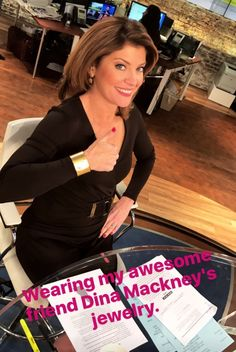 CBS This Morning co-host Norah O'Donnell looking stunning on her Instastory in #DinaMackney Mother of Pearl Cuff Bracelet and Hammered Geo Drop earrings #mydina #cbsthismorning