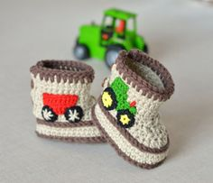 Crochet Pattern Baby Booties Tractor Booties in Three Sizes Crochet Baby Shoes Pattern Instant Download