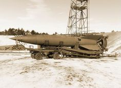 """The V-2 (for Vergeltungswaffe 2, """"retaliation weapon 2"""", technical name Aggregat-4, or A-4), was a missile developed by Wernher von Braun and Klaus Riedel as part of a German military research team. Commonly known as the V-2, it was the first combat ballistic missile and the progenitor of all modern rockets, including those used by the U.S. and USSR space programs. Its first successful flight was in 1942, and from 1944 to 1945 over 3,000 V-2s were launched. Photographed at Peenemünde…"""