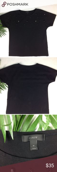 J. Crew Jeweled Dolman Top in Black J. Crew Jeweled Dolman Top in Black. Size Medium. 70% cotton, 25% nylon, 5 Elasthanne. Like new condition. No holes, stains or smells. Not a single rhinestone is missing. Also, the white patches in the shirt are my stains, just a little dust. Thank you. J. Crew Tops Blouses