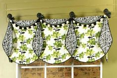 Valance fashioned with lined circles. Clever!