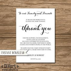 Rustic Wedding Thank You Card Template, Thank You Sign, Modern Thank You Card Template - editable PDF file -  Instant Download - Ashley by DIVart on Etsy