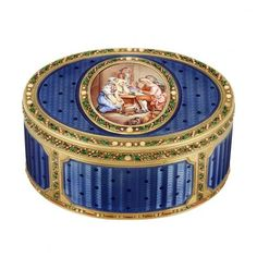 the oval gold box applied with blue guilloche enamel, centering an oval panel depicting a portrait miniature of village townspeople listening to a man reading, outlined and edged throughout with chased gold, green enamel leaves and opalescent enamel dots, with maker's mark and French assay mark, circa 1830