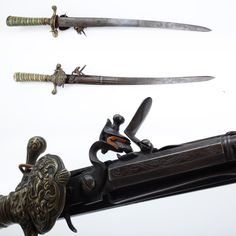 Flintlock Sword Pistol - This .40 caliber flintlock's pistol barrel blends in nicely to the short sword and may well have been designed to provide the coup-de-grace in a hunting scenario. While this one could have been made as a double-barreled item, we believe that one side was left flat and plain to allow for easier carrying and drawing.  At the NRA National Firearms Museum in Fairfax, VA.