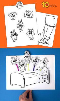 Monster Activities, Fall Preschool Activities, Preschool Crafts, Toddler Activities, Kids Crafts, Easy Arts And Crafts, Crafts To Do, Paper Crafts, Kids Daycare