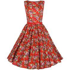 Lindy Bop Women's Audrey Hepburn 1950's Rockabilly Dress (185 BRL) ❤ liked on Polyvore featuring dresses, 50s dresses, swing dress, flare dress, skater skirt, vintage swing dress and vintage party dress