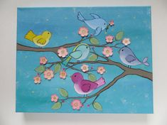 Sale acrylic painting childrens art bird painting by Waterblooms