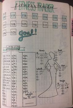 Fitness tracker and weight loss tracker in bullet journal