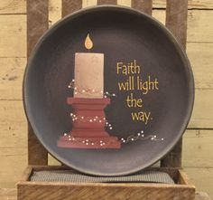 Faith Will Light The Way Large Wooden Plate