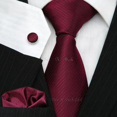 Buy Burgundy Wedding Silk Tie Set UK - Ties N Such