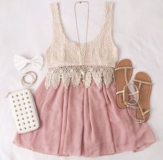 White top with a pink skirt