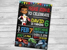 Blaze and the Monster Machines Birthday Invitation  This listing includes 1 personalized printable photo birthday invitation. You will not receive anything in the mail, this is for a DIGITAL file only. You send me your information, I customize, you print. Follow the simple instructions below to place an order.  THE SIZE IS 5x7.  When purchasing please put in NOTE TO SELLER this information: 1. Name 2. Age 3. Date of the Party 4. Time of the Party 5. Address of the Party 6. RSVP info  After…