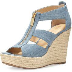 MICHAEL Michael Kors Damita Zip-Front Wedge Espadrille Sandal (4,595 PHP) ❤ liked on Polyvore featuring shoes, sandals, washed denim, open toe wedge sandals, espadrille wedge sandals, platform shoes, platform wedge shoes and golden sandals