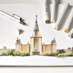 My Moscow Воробьёвы горы навсегда #sketch #sketchbook #arqsketch #copic #markers #copicmarkers #urbansketch #urbansketchers