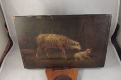 Antique Sheep and Lamb Oil Painting on Board | eBay