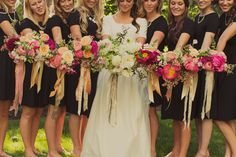 black bridesmaid dresses with bright pink florals // Photo: Alixann Loosle, Floral Designer: Sarah Winward