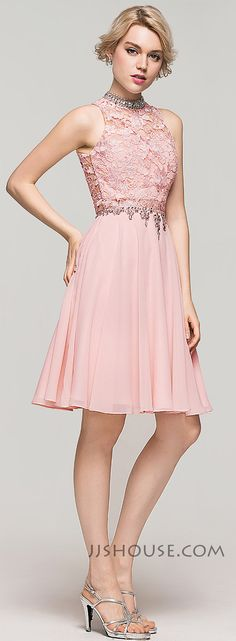 You will be a glam Homecoming queen in this A-line/princess high neck knee-length Chiffon dress! #JJsHouse