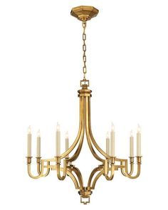 Viceroy Chandelier, Antique Brass