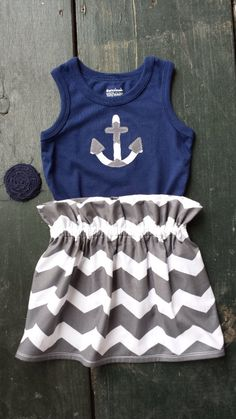 Handmade Outfit by Probable Charm! Girls Anchor Tank Top  & Coordinating Chevron Skirt with Hair Clip, Size 18mos