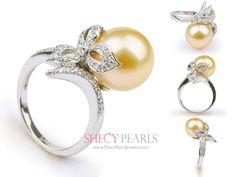 Golden Cultured South Sea Pearl Ring , 11.0mm-12.0mm , AAA, 5002-NGR128 | ShecyPearls Ring
