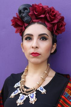 Wine Red Flower Crown Headband (Frida Kahlo Costume Day of the Dead Headpiece Catrina Mexican Headdress Halloween Sugar Skull Costume)