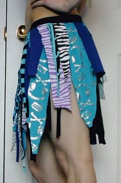 TATTERED Skirt DIY Upcycled OOAK Puple Blue Turquoise Black Punk Metal Goth