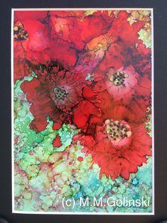 Original Art Flower Alcohol ink Painting  Zinnia by MaggieGolinski