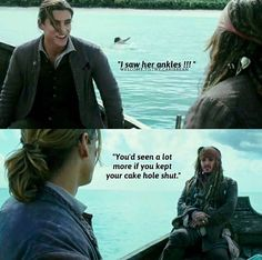 This part of the movie was so dumb, it was funny. Mad love for Henry and Captain Jack Will Turner, Disney And Dreamworks, Disney Pixar, Jack Sparrow Quotes, Jack Sparrow Funny, Elisabeth Swan, Narnia, Funny Memes, Hilarious